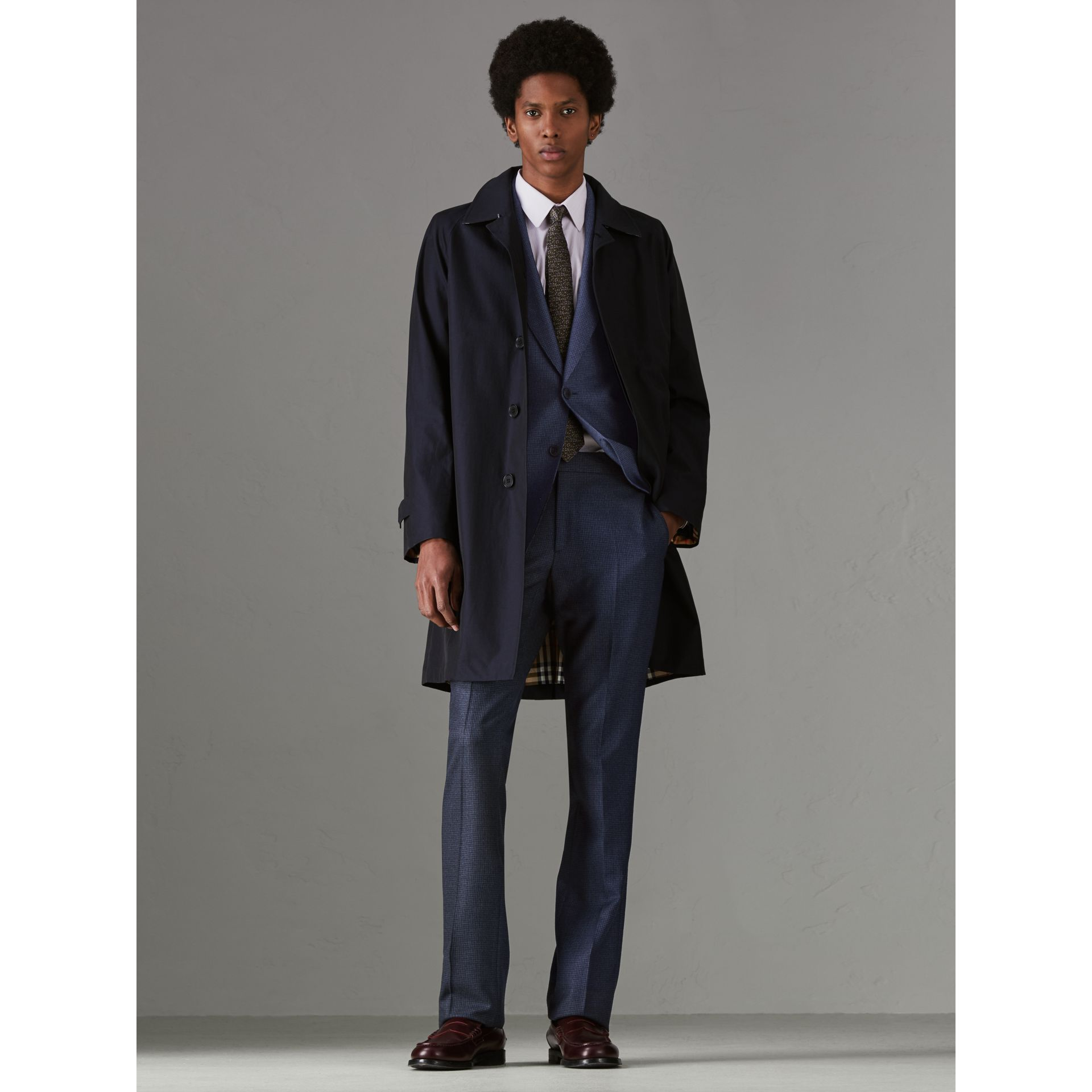 Slim Fit Puppytooth Wool Suit in Navy - Men | Burberry - gallery image 8