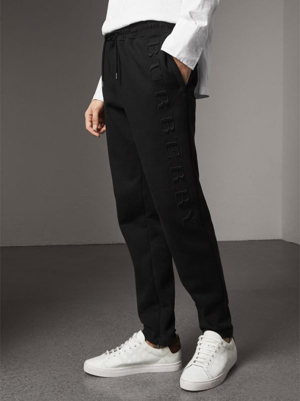 Embroidered Jersey Sweatpants in Black - Men | Burberry Canada - cell image 2