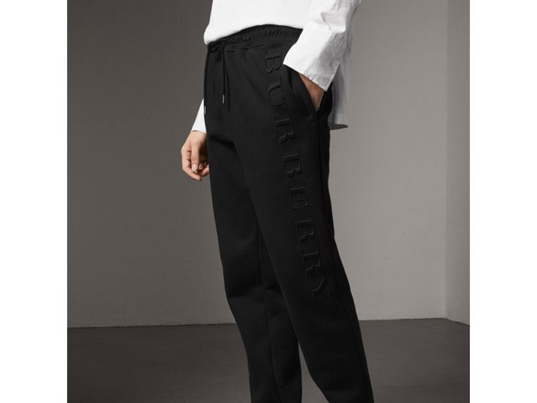 Embroidered Jersey Sweatpants in Black - Men | Burberry Australia - cell image 2