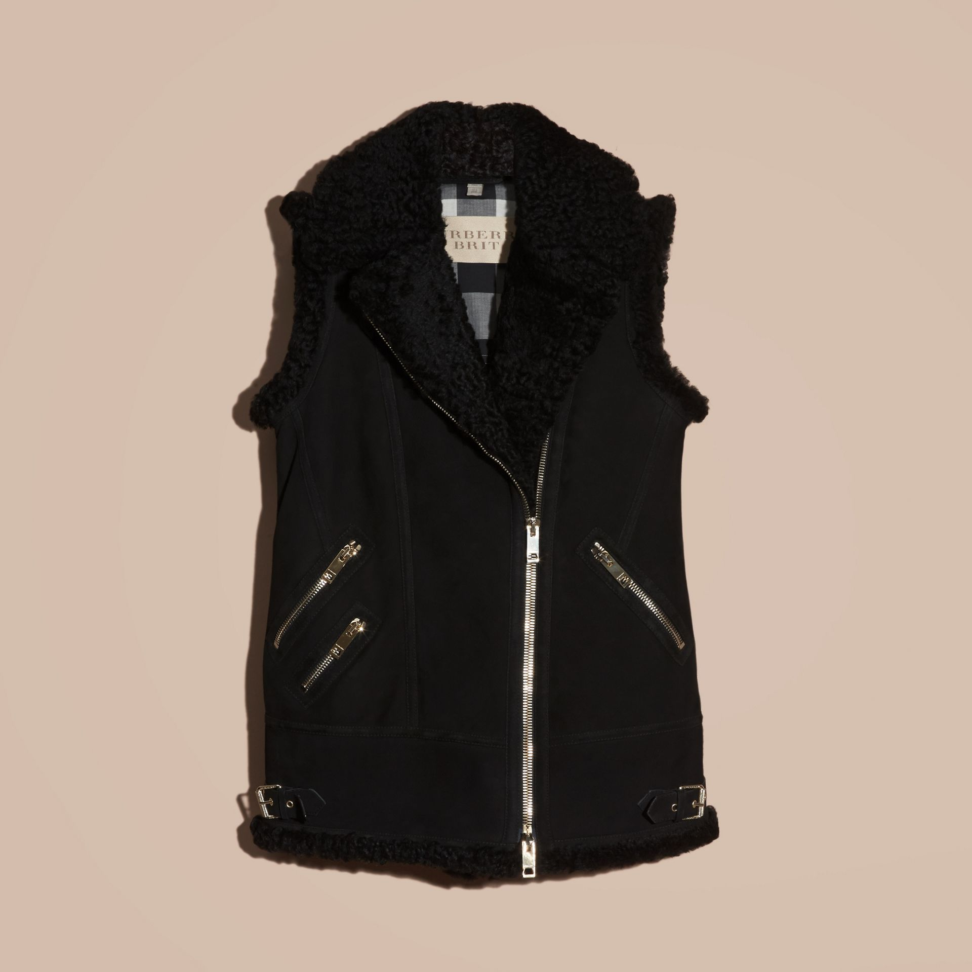 Black Shearling Biker Gilet Black - gallery image 4
