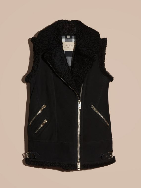 Black Shearling Biker Gilet Black - cell image 3