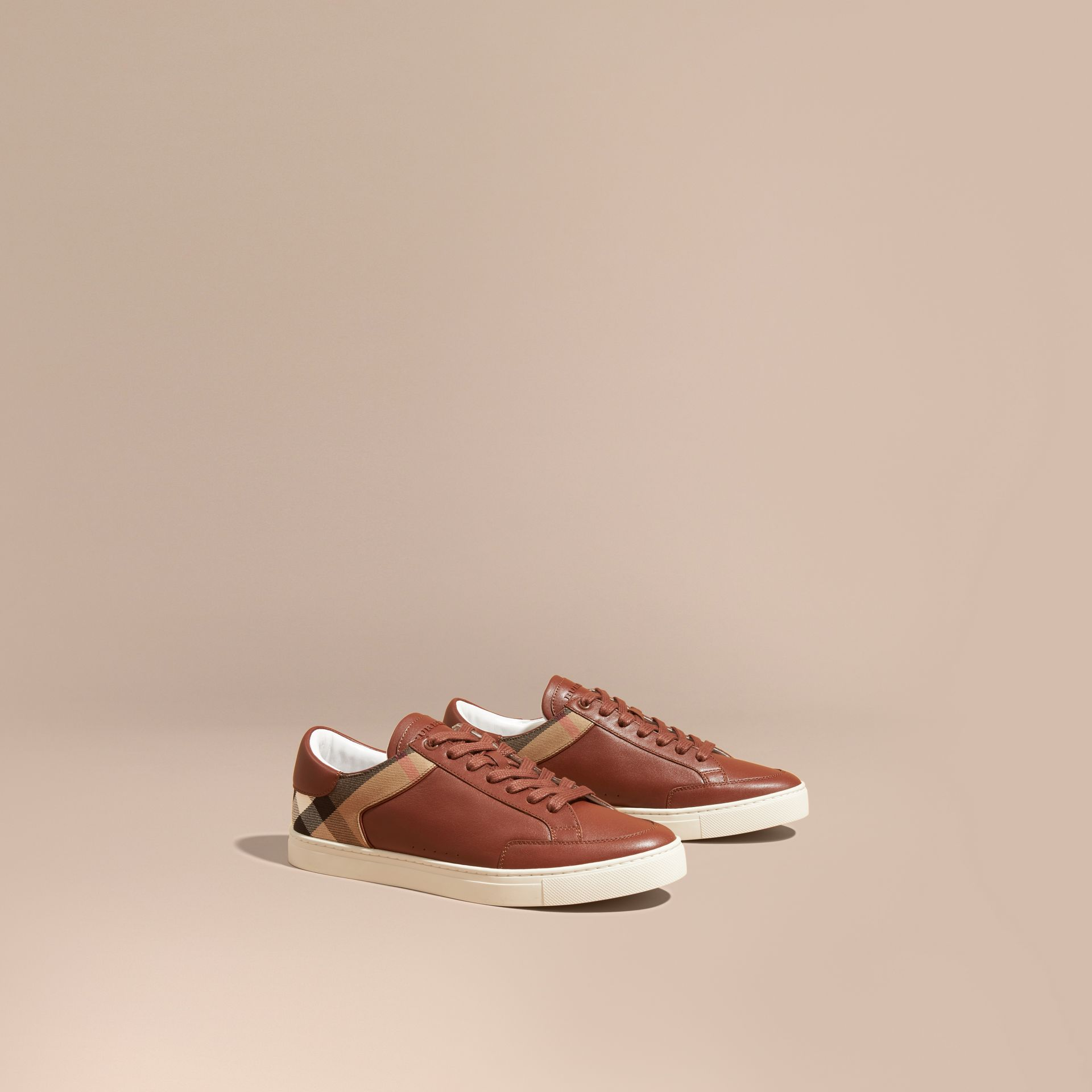 Leather and House Check Trainers in Check/bright Camel - gallery image 1
