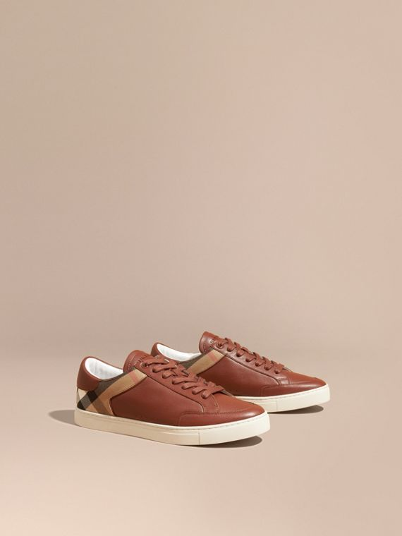 Leather and House Check Trainers - Men | Burberry