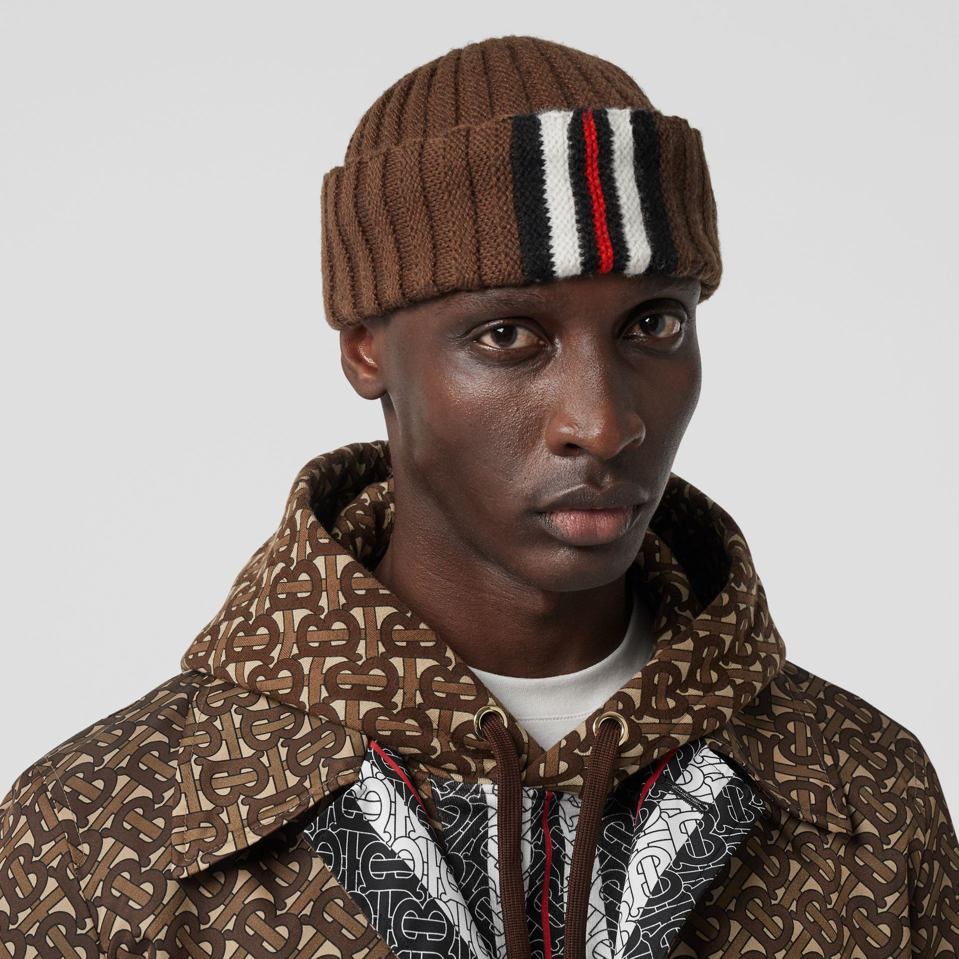 Stripe Detail Rib Knit Wool Beanie in Brown | Burberry - gallery image 3