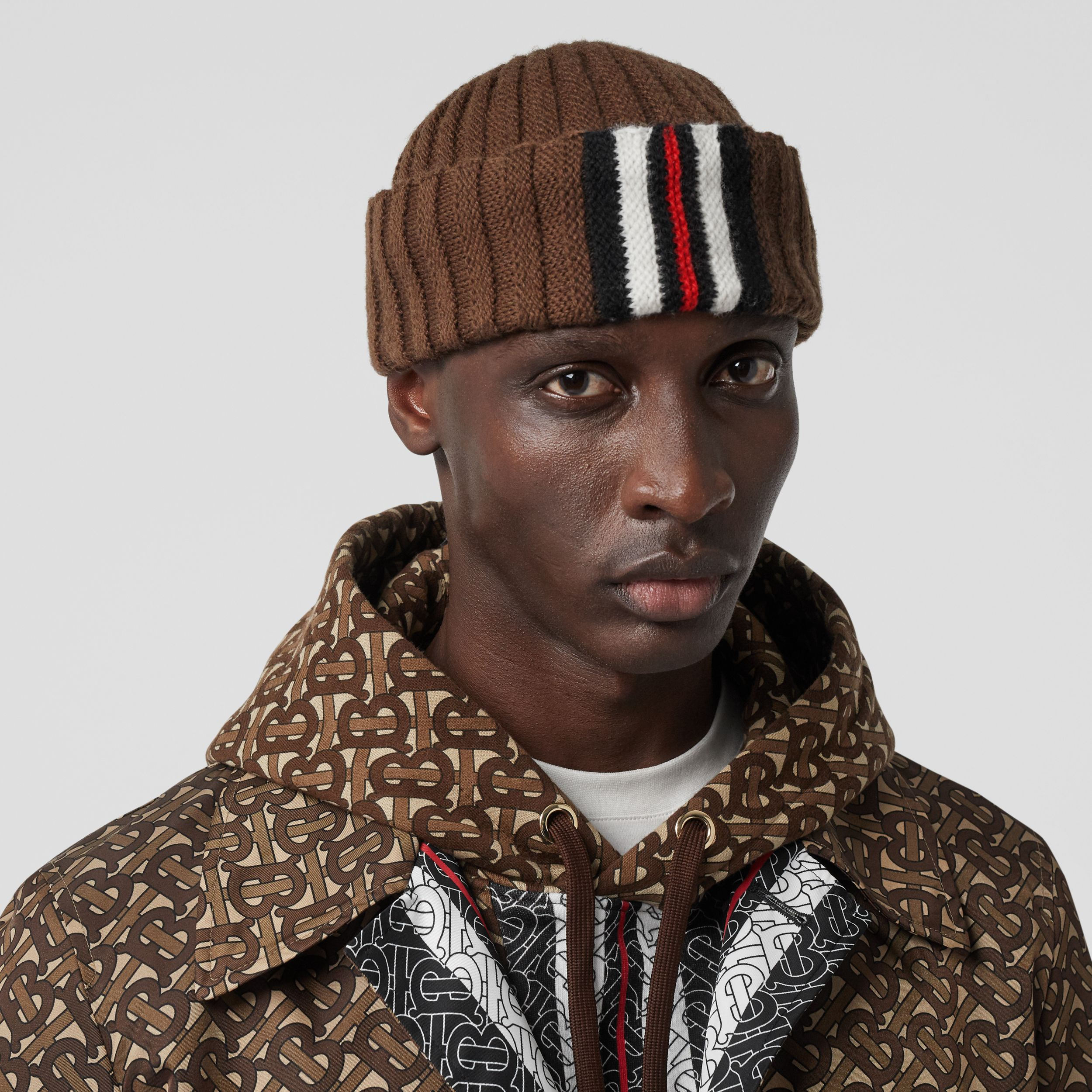 Stripe Detail Rib Knit Wool Beanie in Brown | Burberry - 4