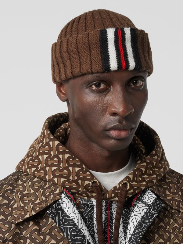 Stripe Detail Rib Knit Wool Beanie in Brown | Burberry - cell image 3