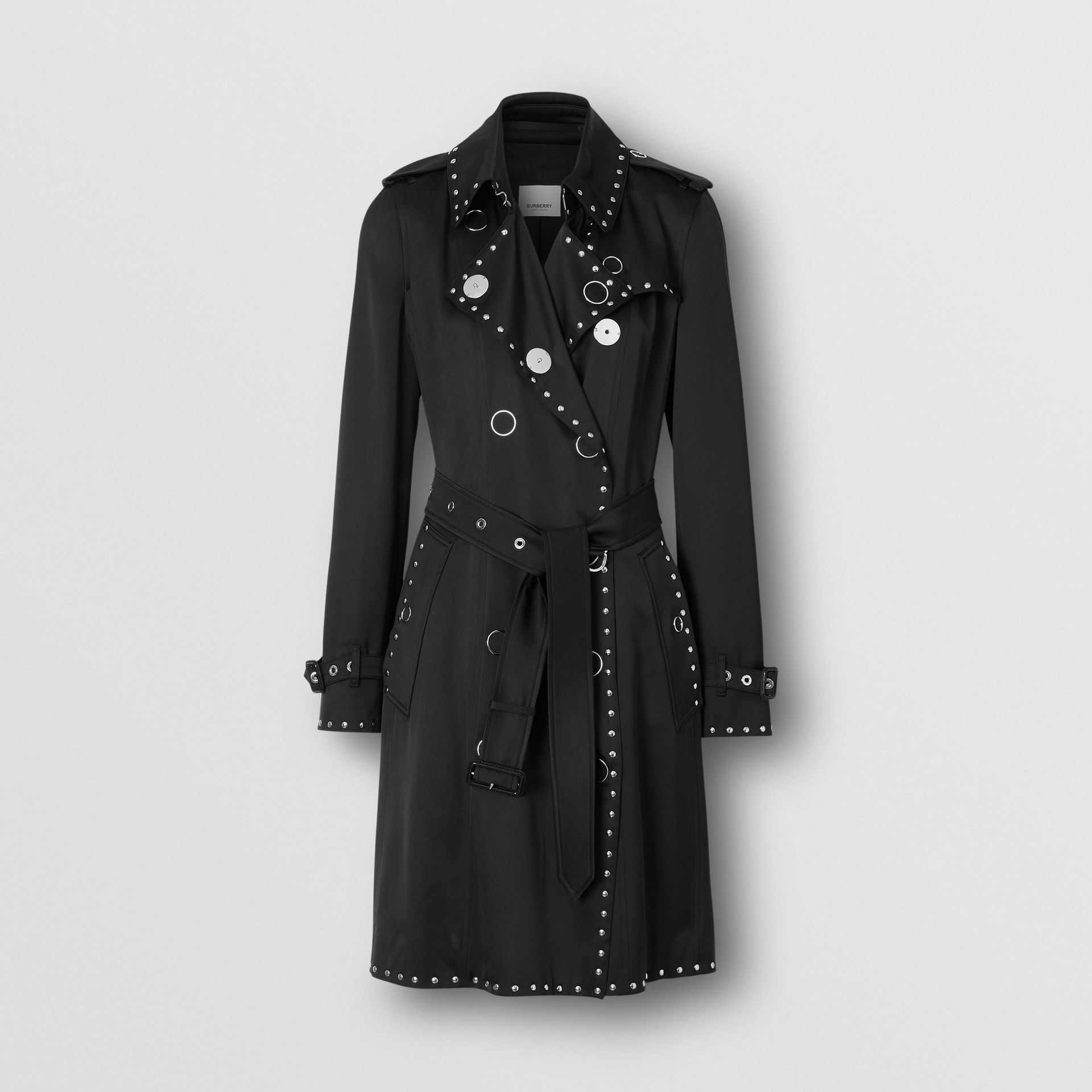 Stud Detail Silk Satin Trench Coat in Black - Women | Burberry - gallery image 3