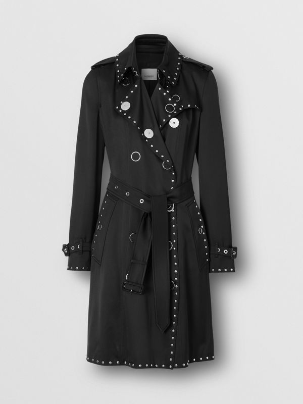 Stud Detail Silk Satin Trench Coat in Black - Women | Burberry - cell image 3