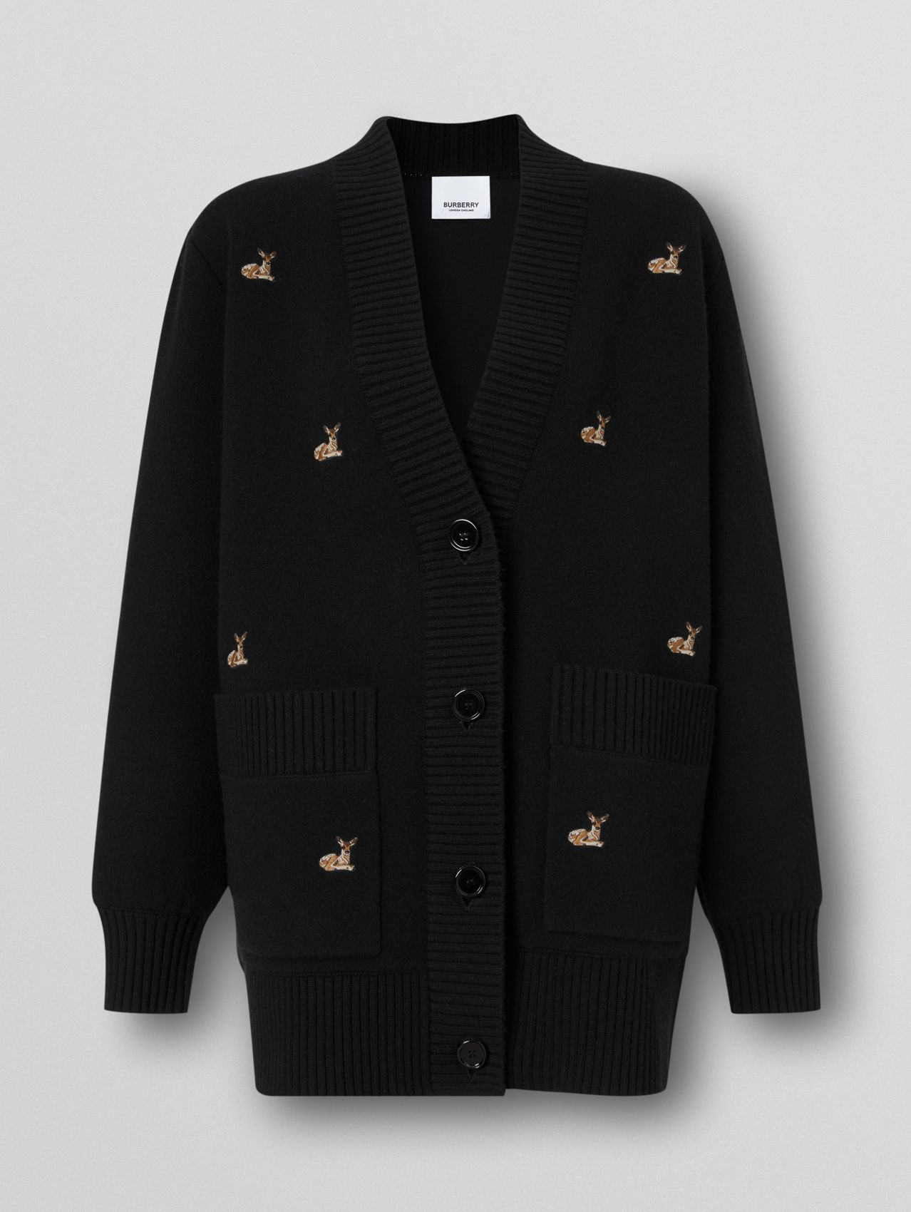 Deer Motif Wool Cashmere Blend Oversized Cardigan (Black)