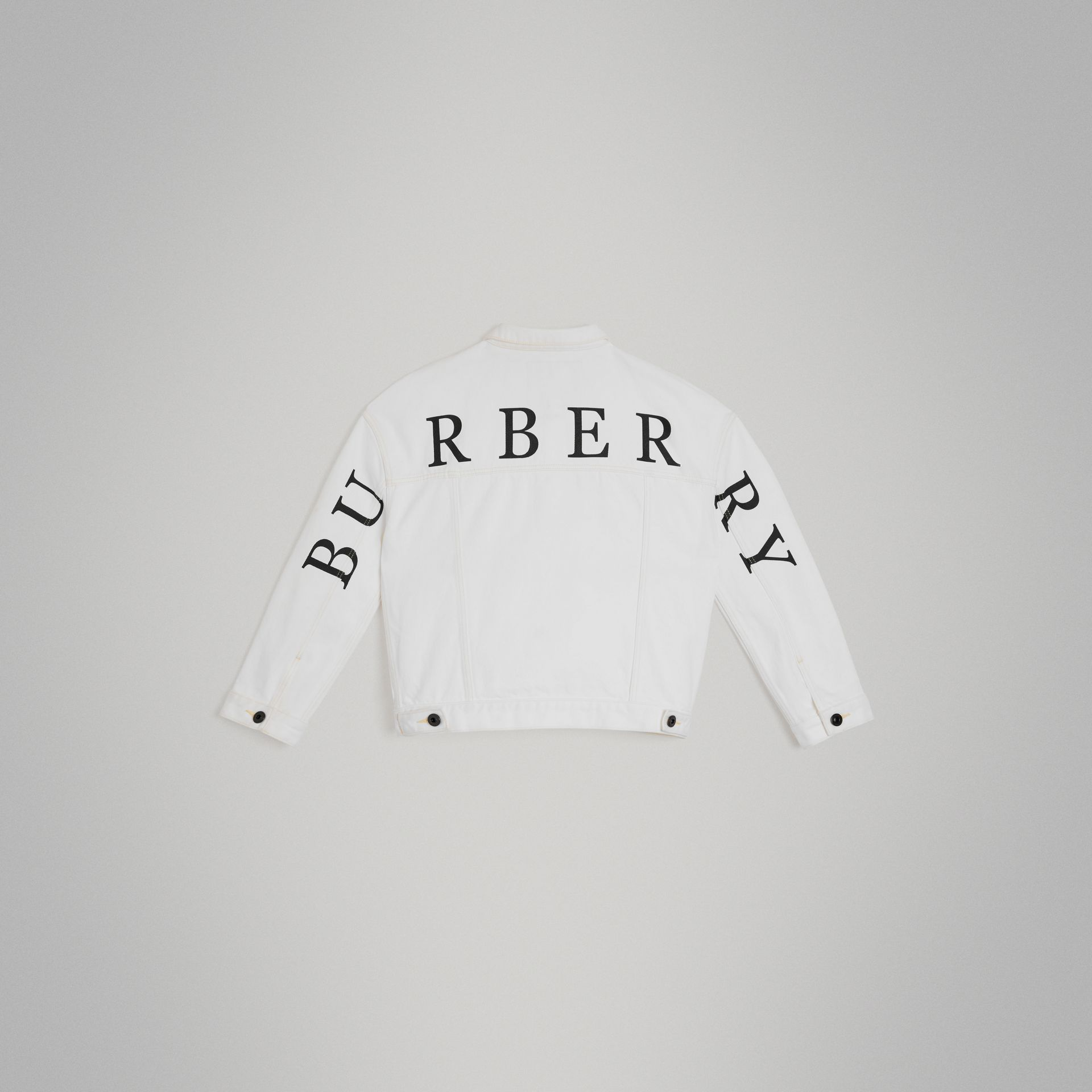 Logo Print Denim Jacket in Natural White | Burberry Canada - gallery image 3
