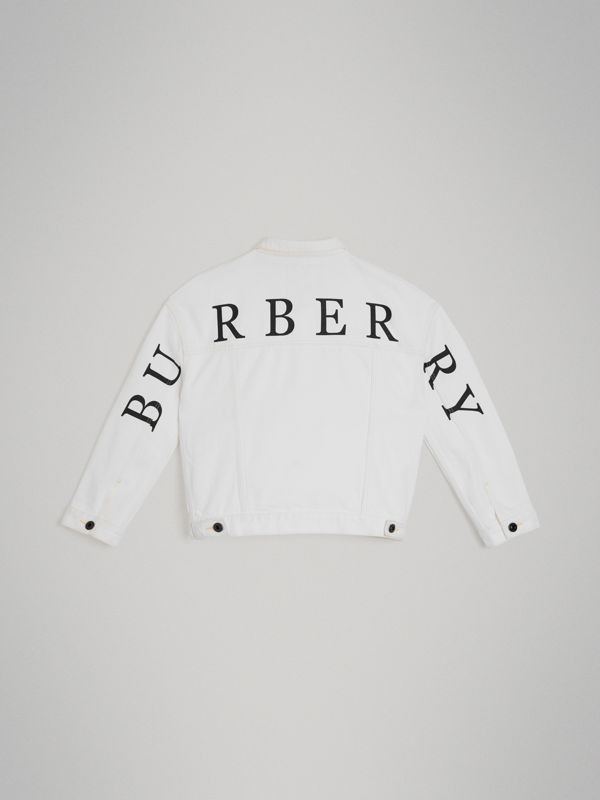 Logo Print Denim Jacket in Natural White | Burberry Canada - cell image 3