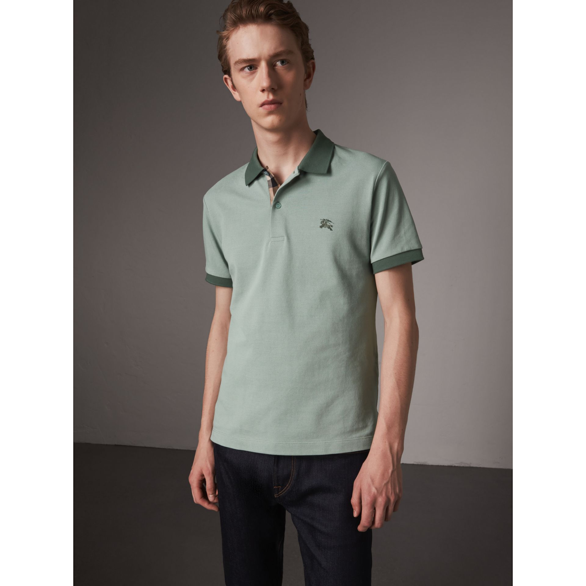 Cotton Piqué Polo Shirt in Eucalyptus Green - Men | Burberry - gallery image 4