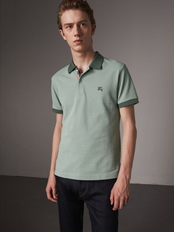 Cotton Piqué Polo Shirt in Eucalyptus Green