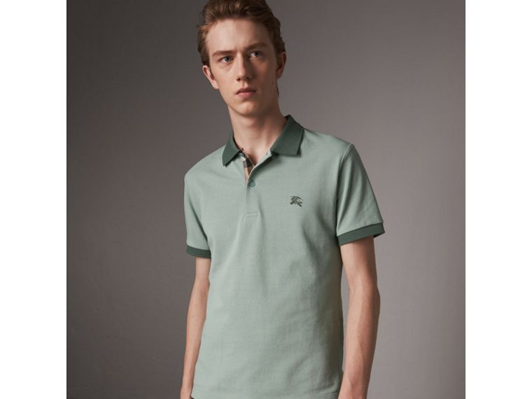 Cotton Piqué Polo Shirt in Eucalyptus Green - Men | Burberry - cell image 4