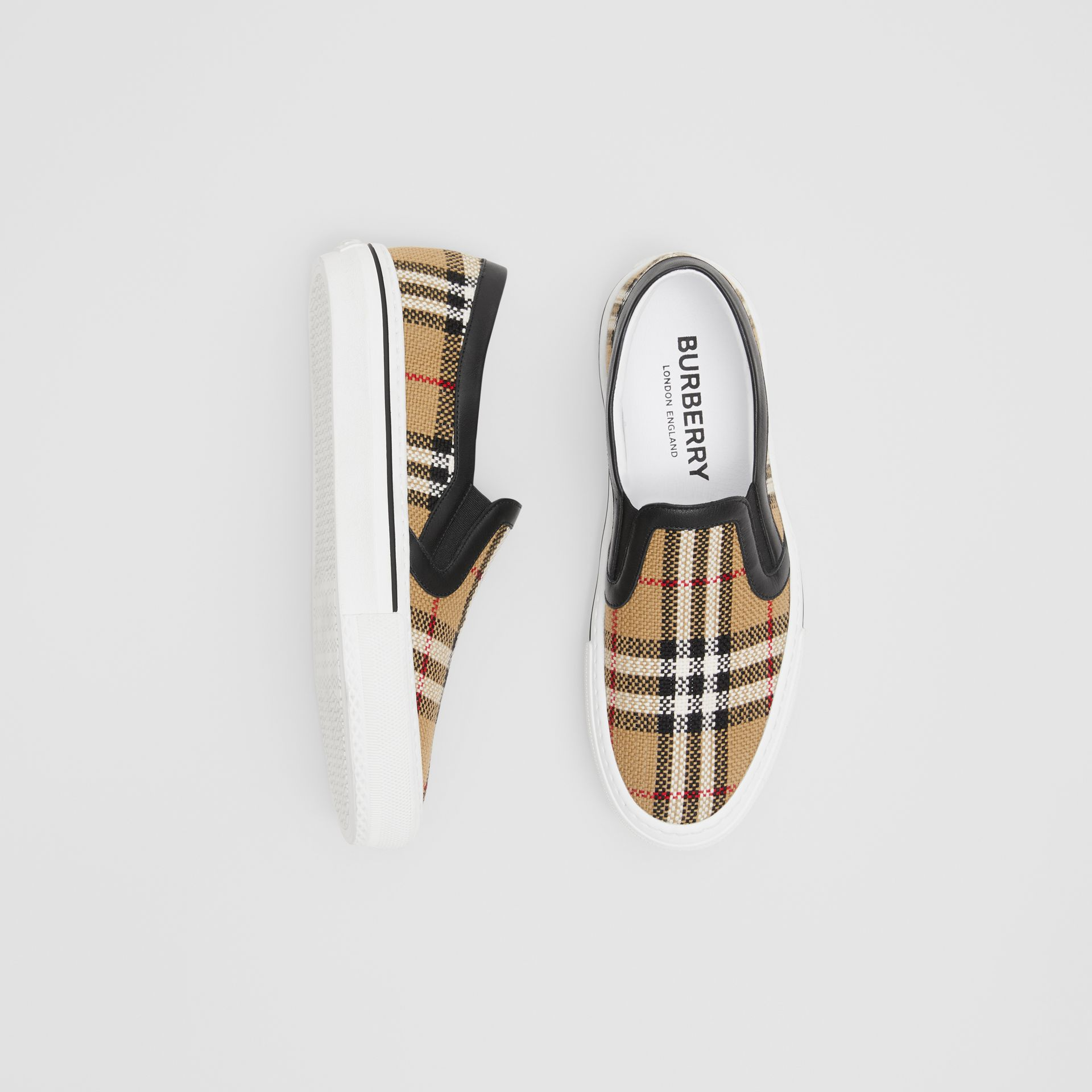 Vintage Check and Leather Slip-on Sneakers in Archive Beige - Women | Burberry - gallery image 0