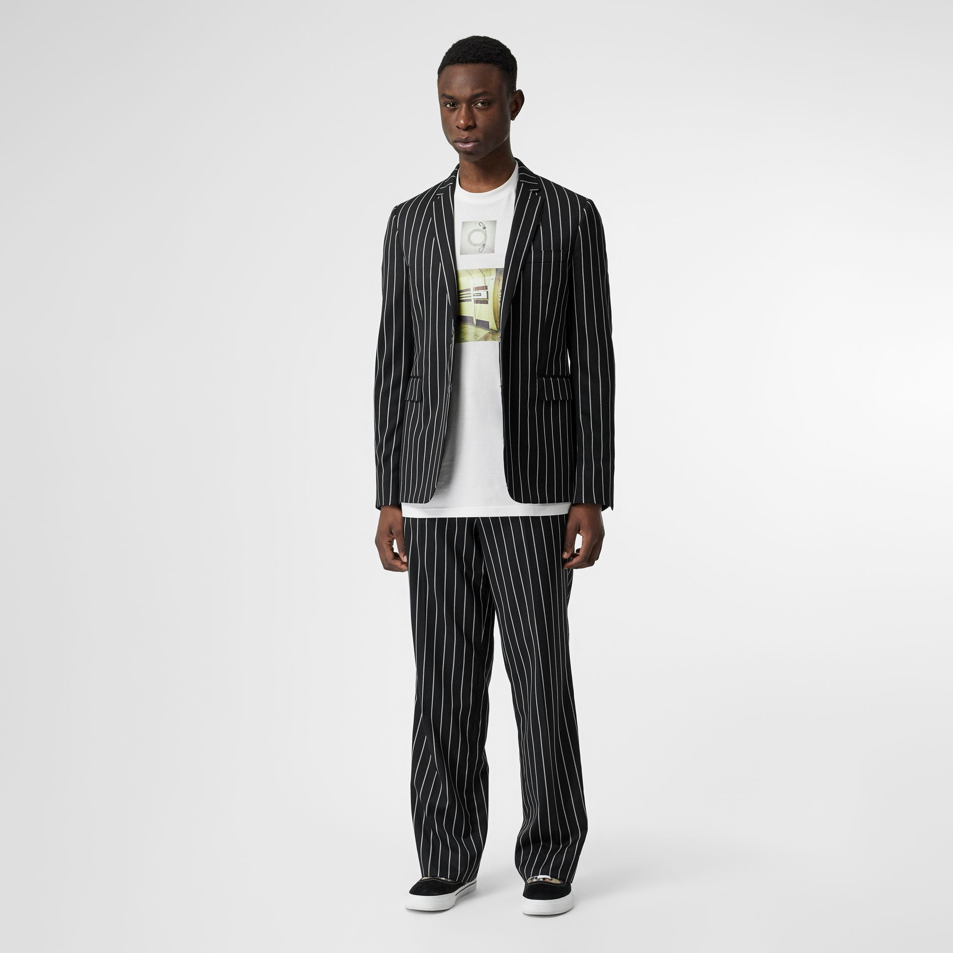 Slim Fit Press-stud Pinstriped Wool Tailored Jacket in Black - Men | Burberry - gallery image 5