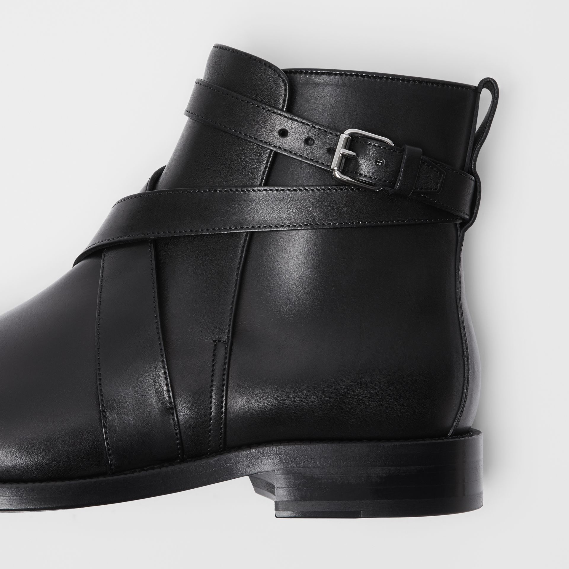 Strap Detail Leather Ankle Boots in Black - Men | Burberry - gallery image 1