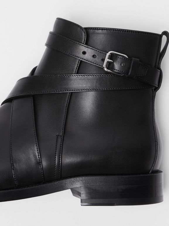 Strap Detail Leather Ankle Boots in Black - Men | Burberry - cell image 1