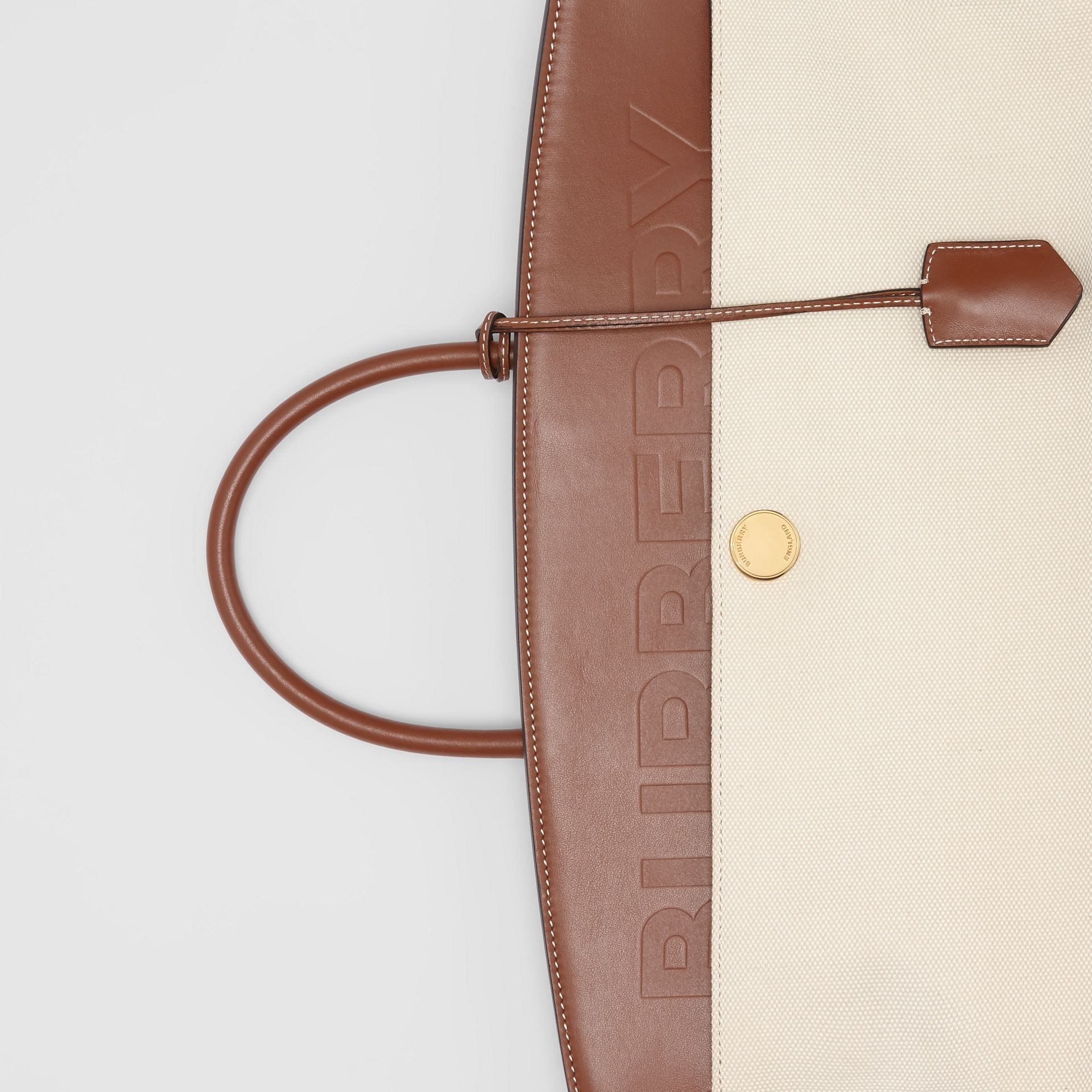 Cotton Canvas and Leather Society Top Handle Bag in Natural/malt Brown - Women | Burberry Australia - gallery image 1