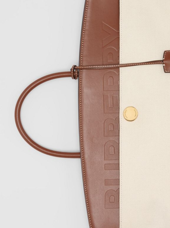 Cotton Canvas and Leather Society Top Handle Bag in Natural/malt Brown - Women | Burberry - cell image 1