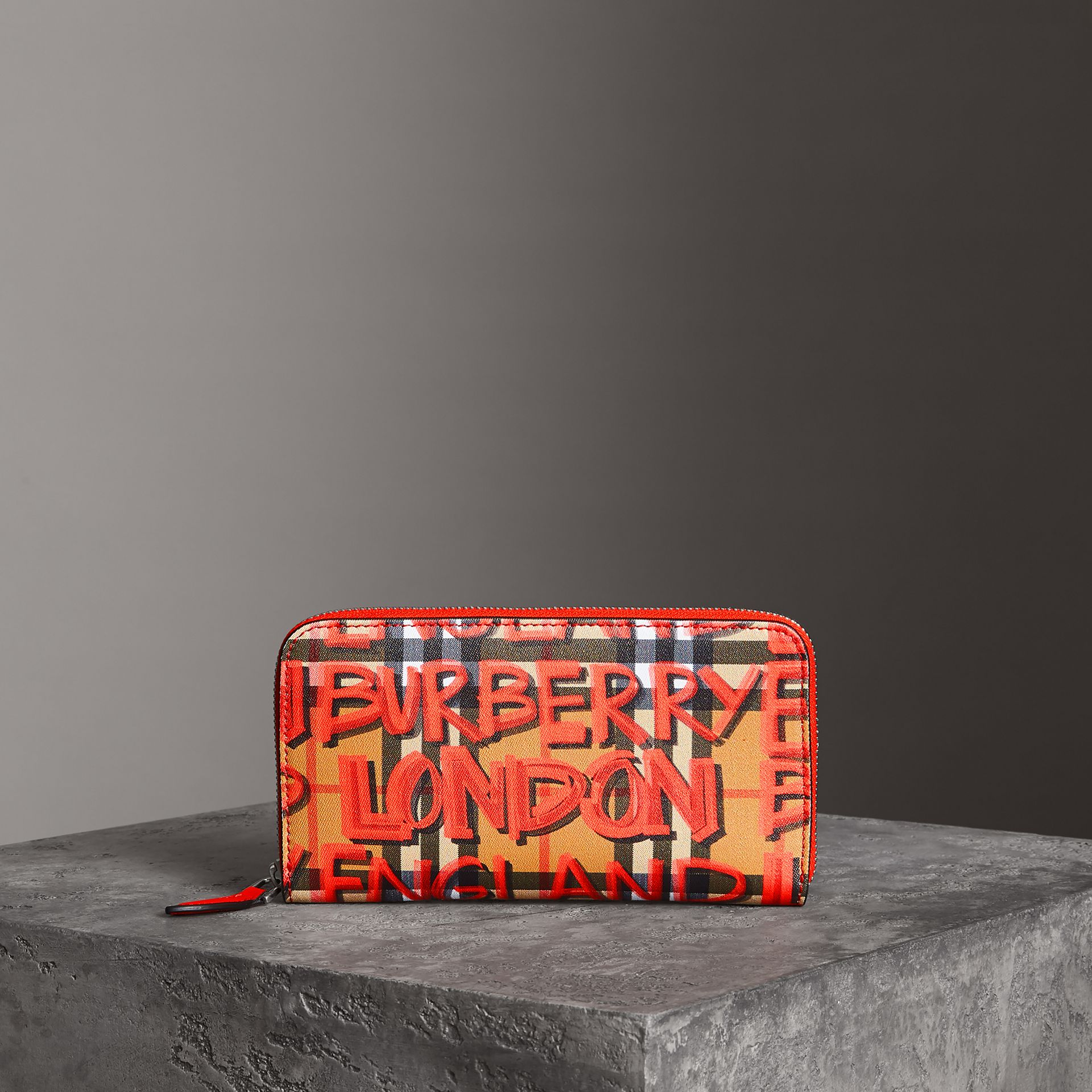 Graffiti Print Vintage Check Leather Ziparound Wallet in Red - Women | Burberry - gallery image 0