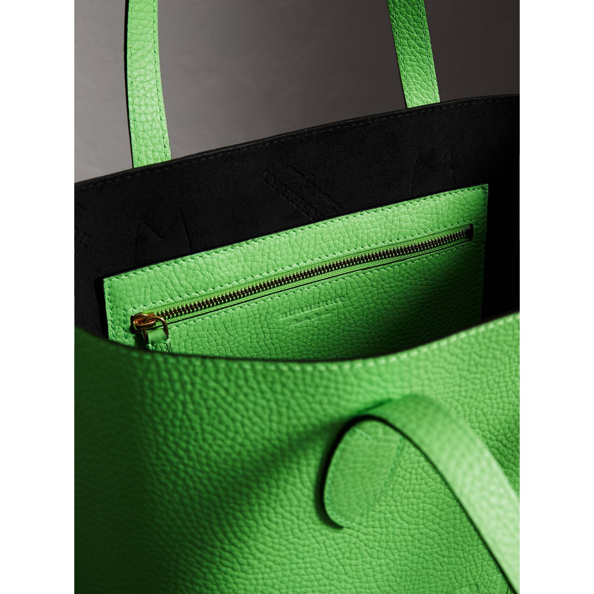 Embossed Leather Tote in Neon Green | Burberry Australia - gallery image 5