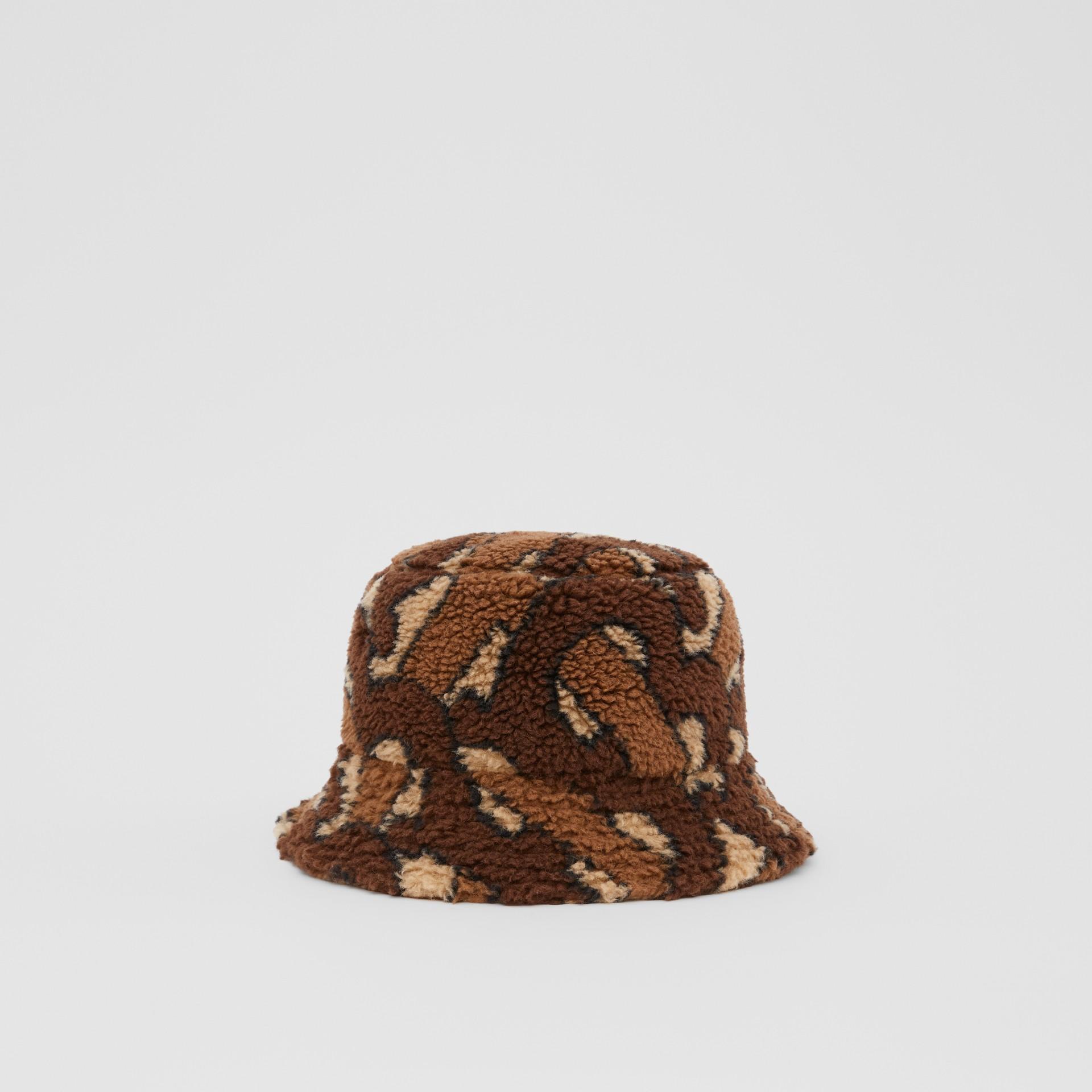 Monogram Fleece Bucket Hat in Bridle Brown | Burberry - gallery image 5