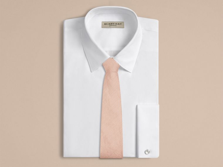 Chalk pink Modern Cut Striped Silk Linen Tie - cell image 1
