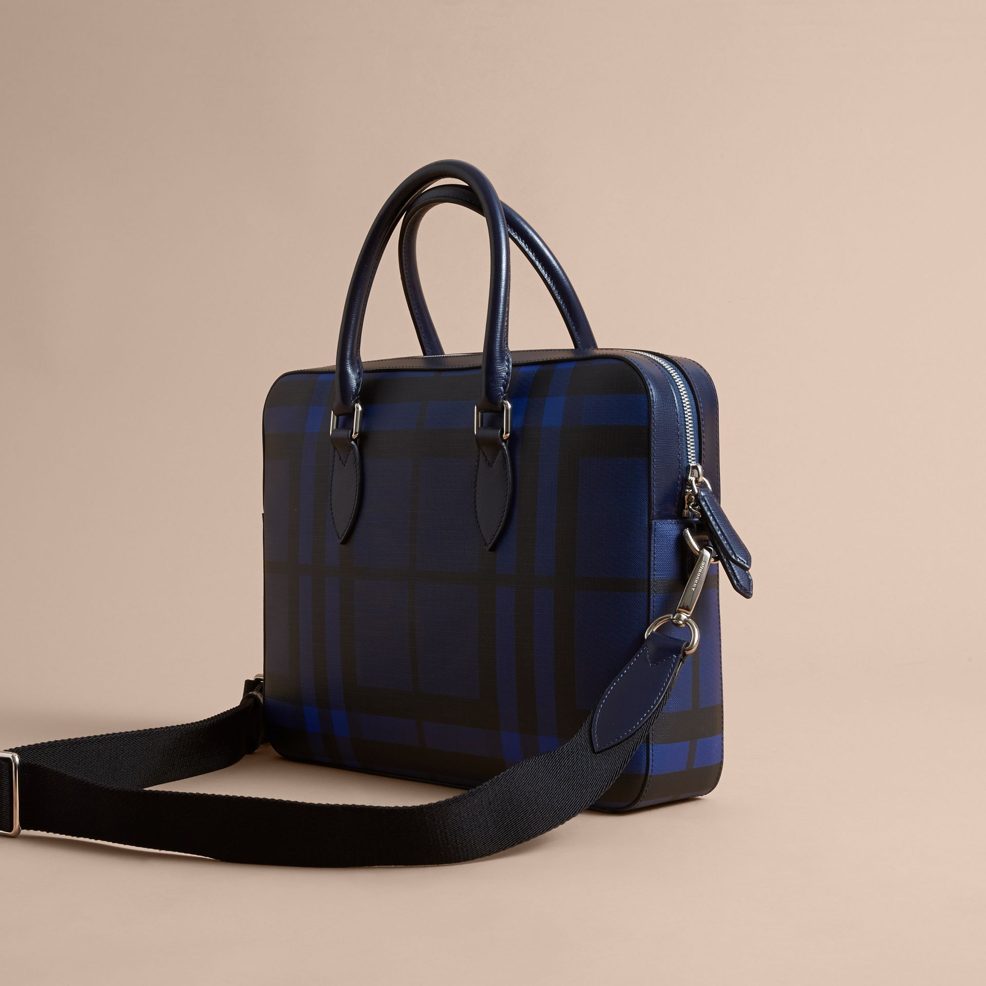 Medium Leather Trim London Check Briefcase in Bright Lapis - Men | Burberry - gallery image 5