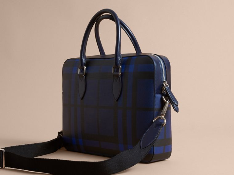 Medium Leather Trim London Check Briefcase in Bright Lapis - Men | Burberry - cell image 4