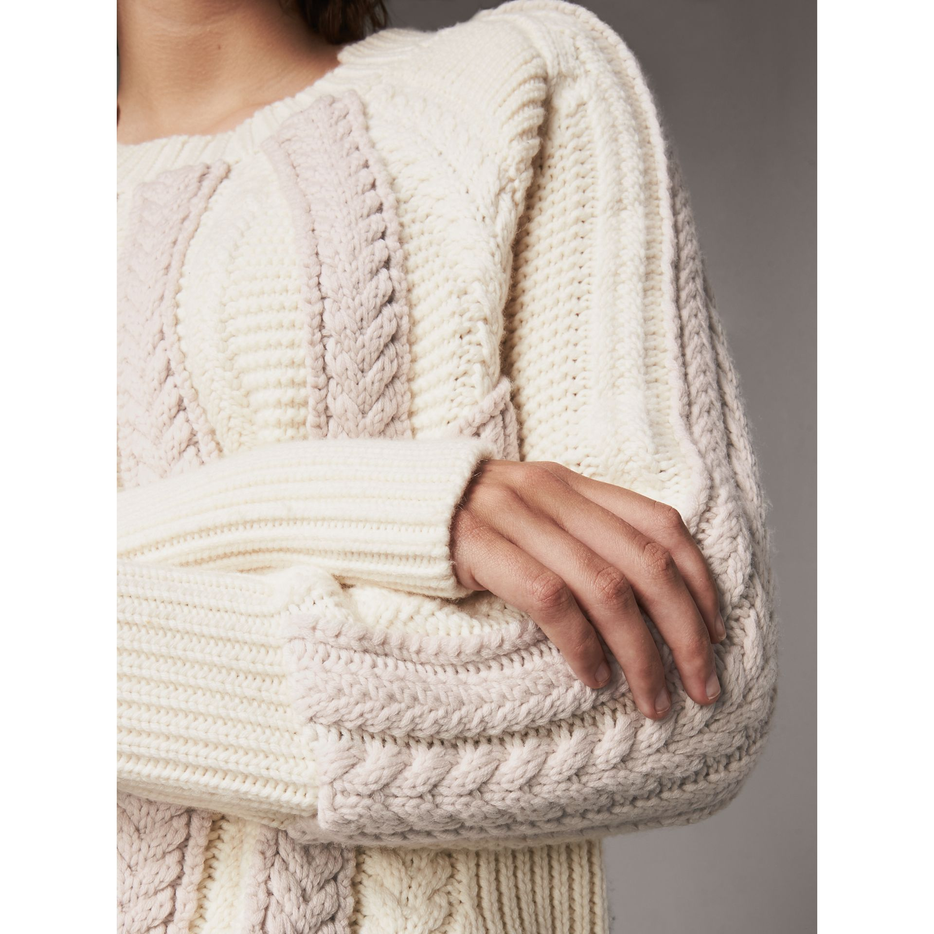 Two-tone Cable Knit Wool Cashmere Sweater in Natural White - Women | Burberry - gallery image 2