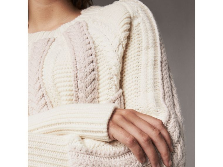 Two-tone Cable Knit Wool Cashmere Sweater in Natural White - Women | Burberry - cell image 1