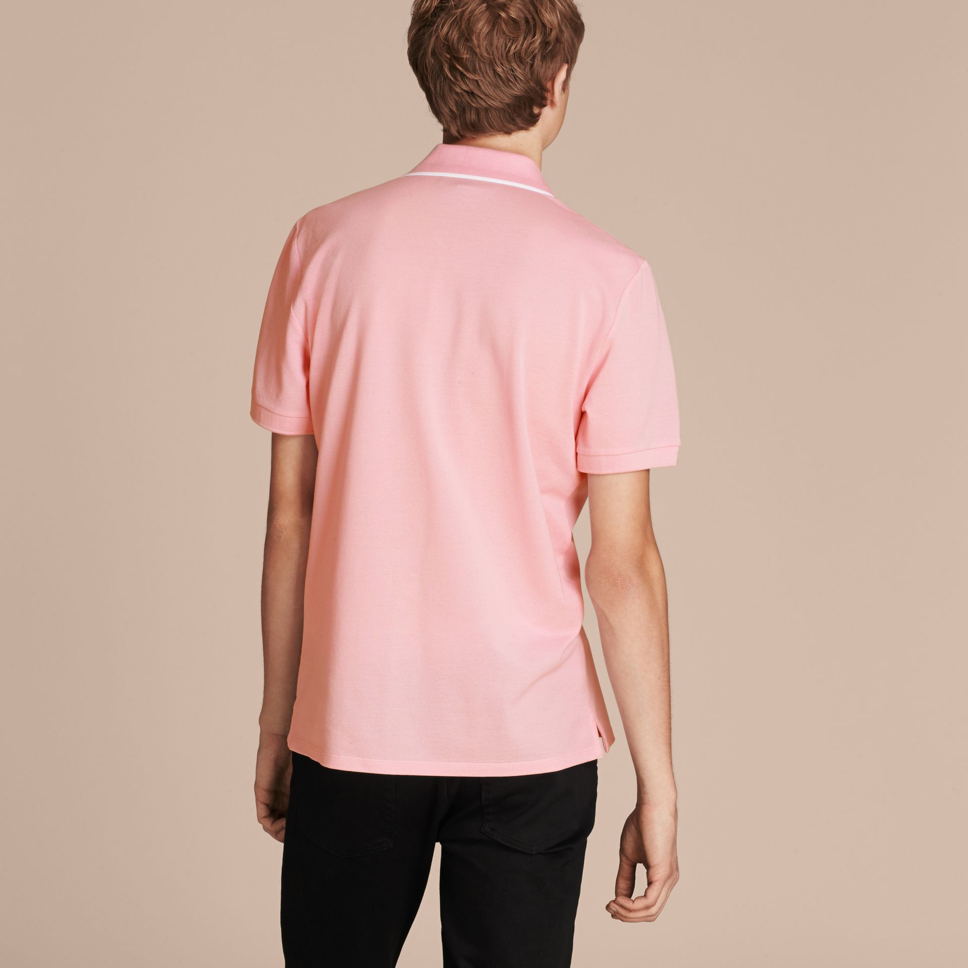 Tipped Collar Cotton Piqué Polo Shirt in Light Pink - gallery image 3