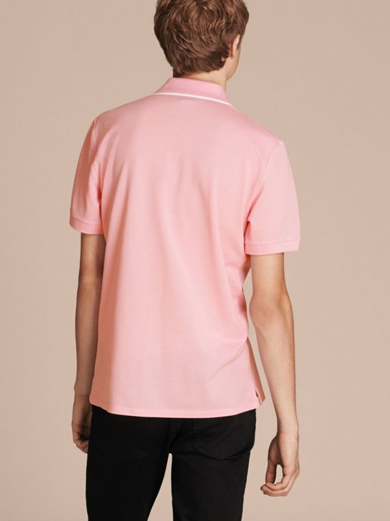 Tipped Collar Cotton Piqué Polo Shirt in Light Pink - cell image 2