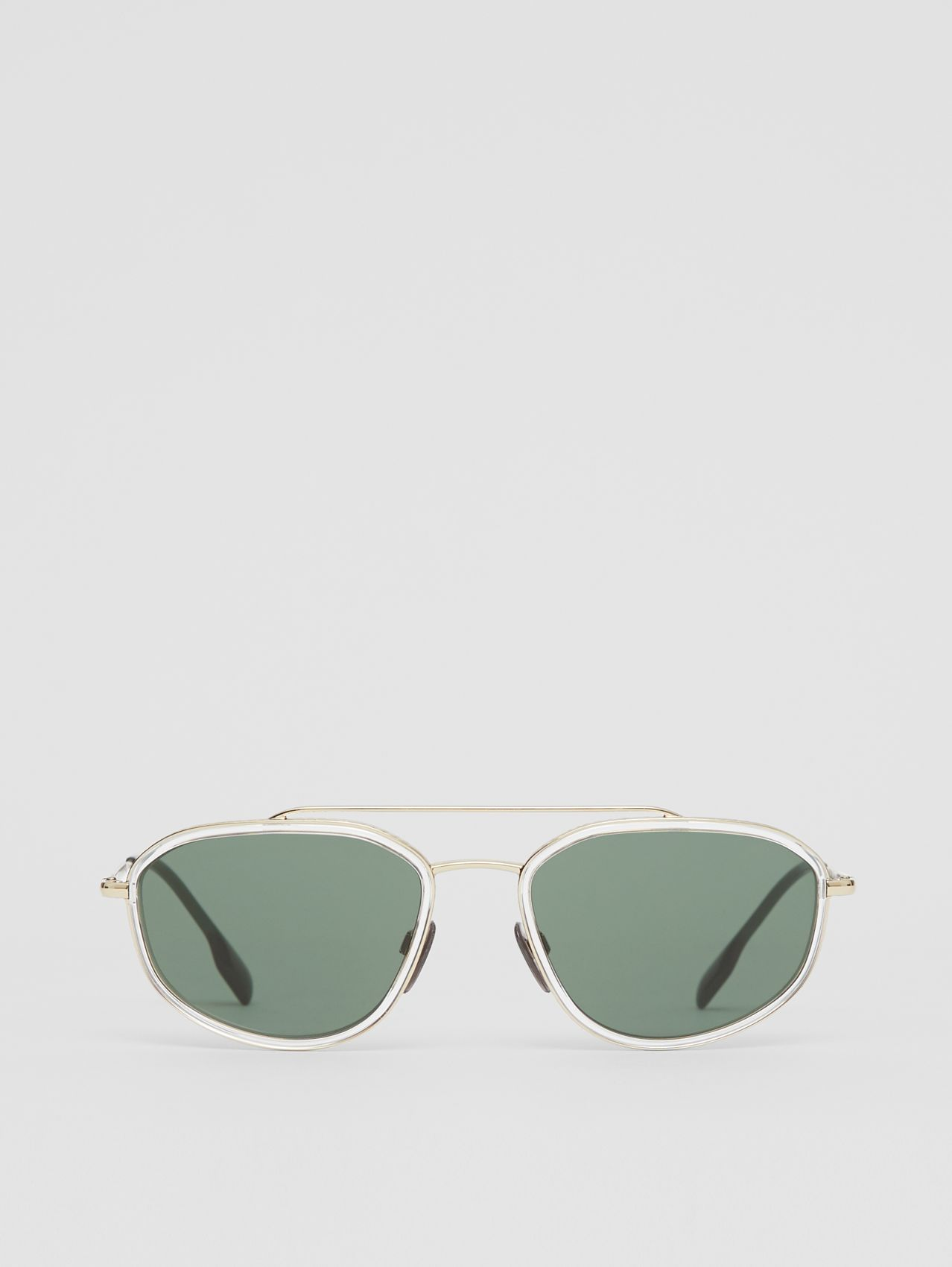 Gold-plated Geometric Navigator Sunglasses in Crystal