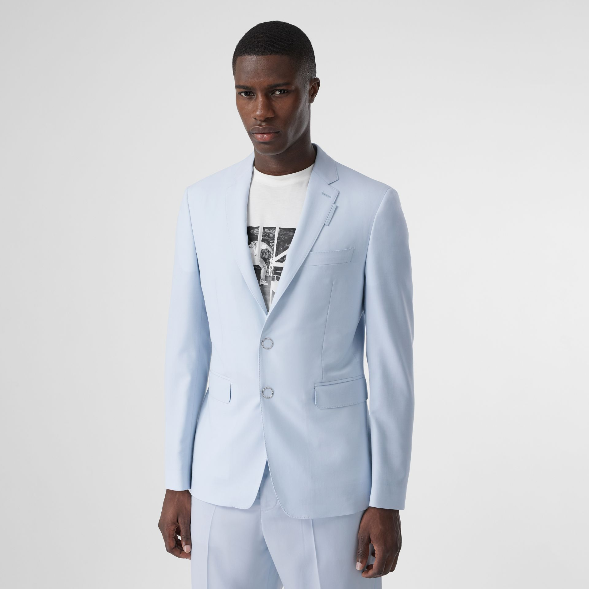Slim Fit Press-stud Tumbled Wool Tailored Jacket in Pale Blue - Men | Burberry United Kingdom - gallery image 0