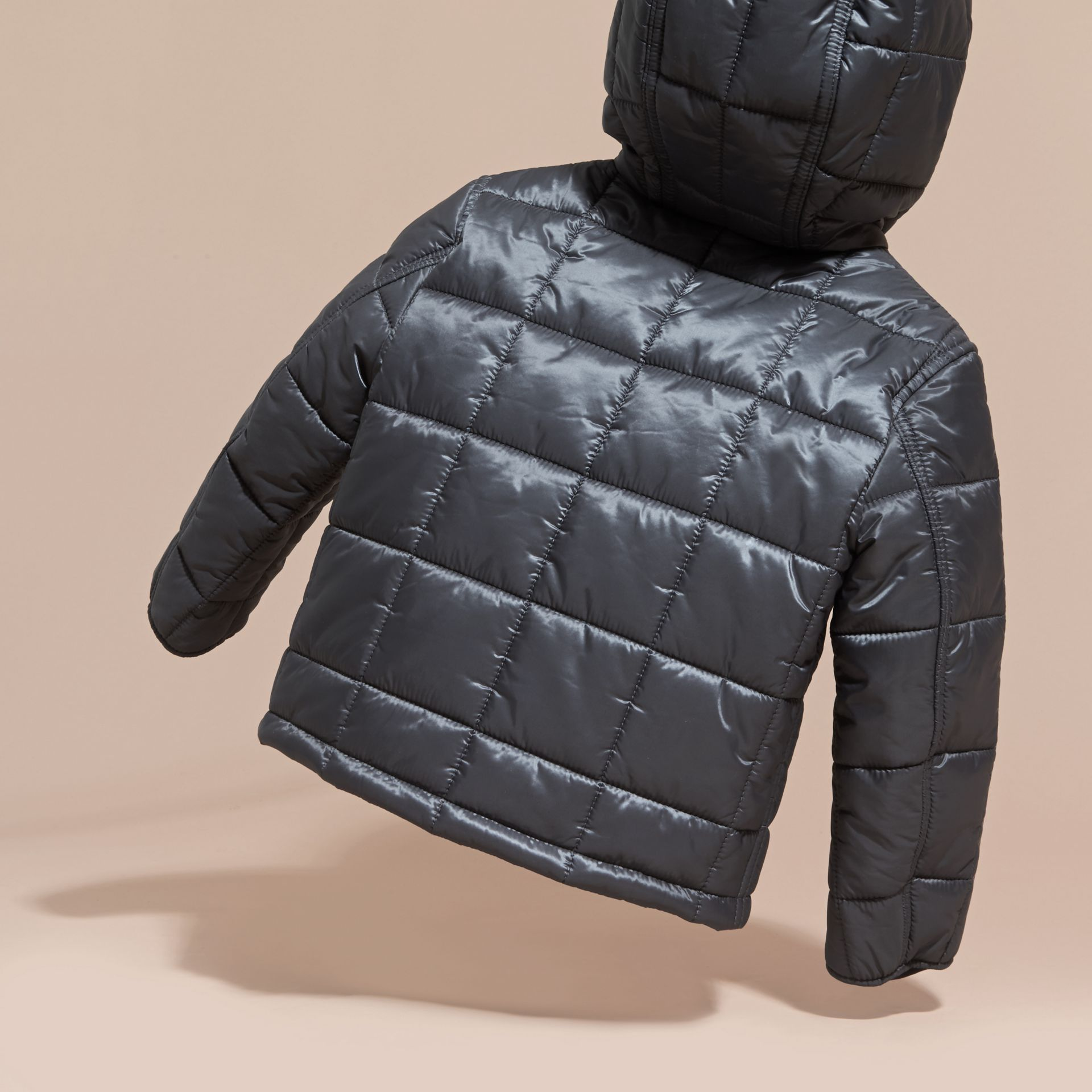 Charcoal Lightweight Quilted Jacket with Hood - gallery image 4