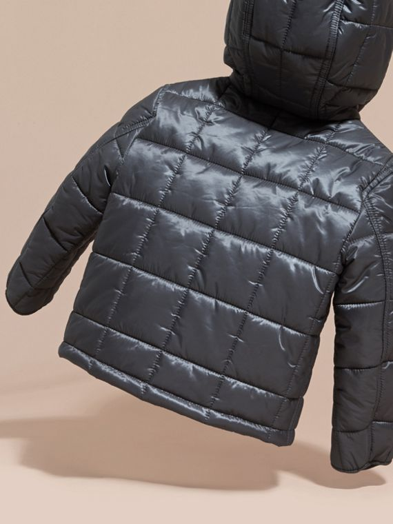 Charcoal Lightweight Quilted Jacket with Hood - cell image 3