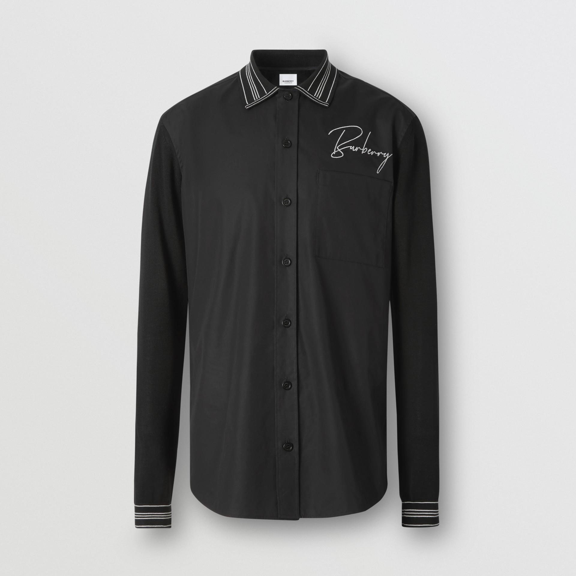 Silk Detail Logo Embroidered Cotton Poplin Shirt in Black - Men | Burberry - gallery image 3