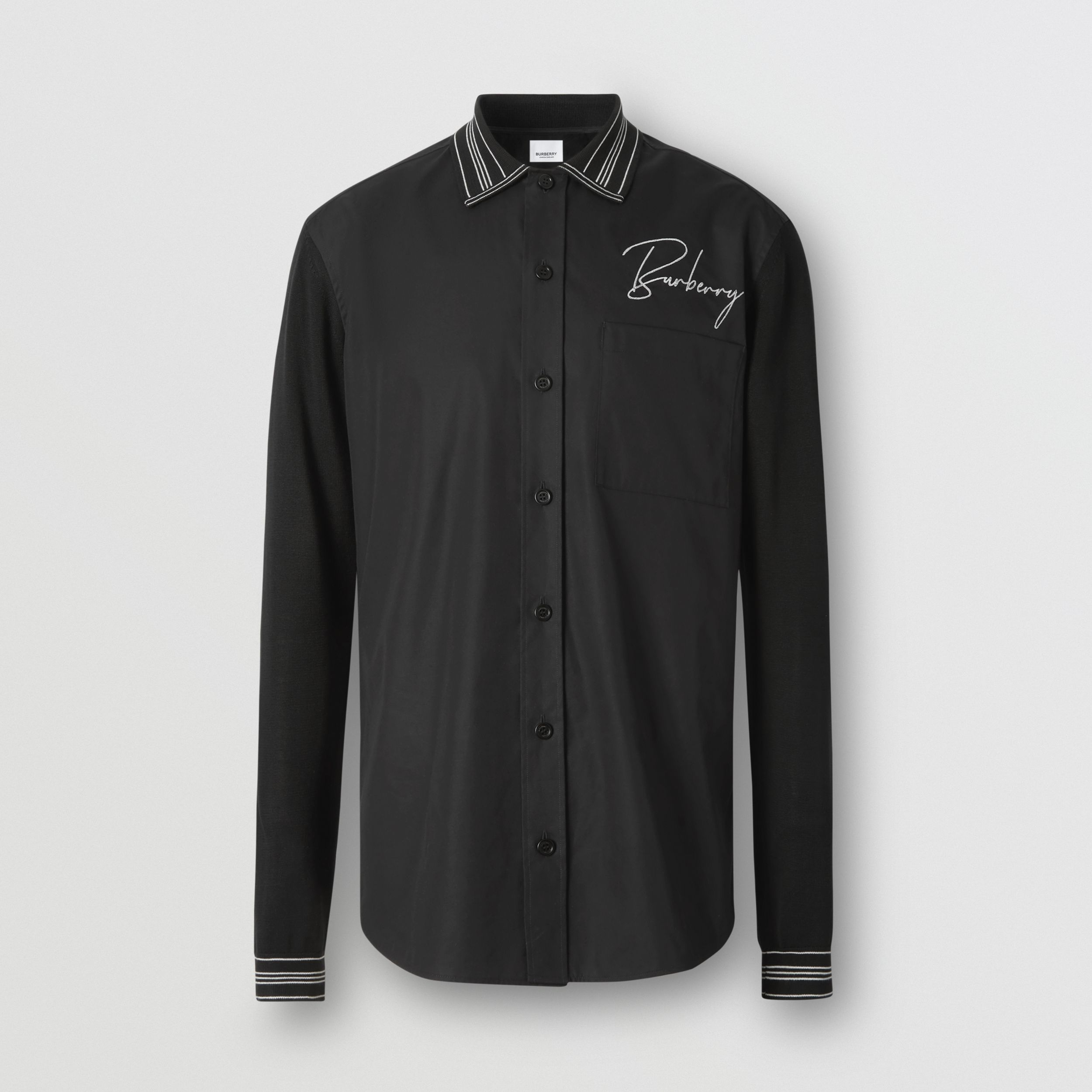 Silk Detail Logo Embroidered Cotton Poplin Shirt in Black - Men | Burberry - 4
