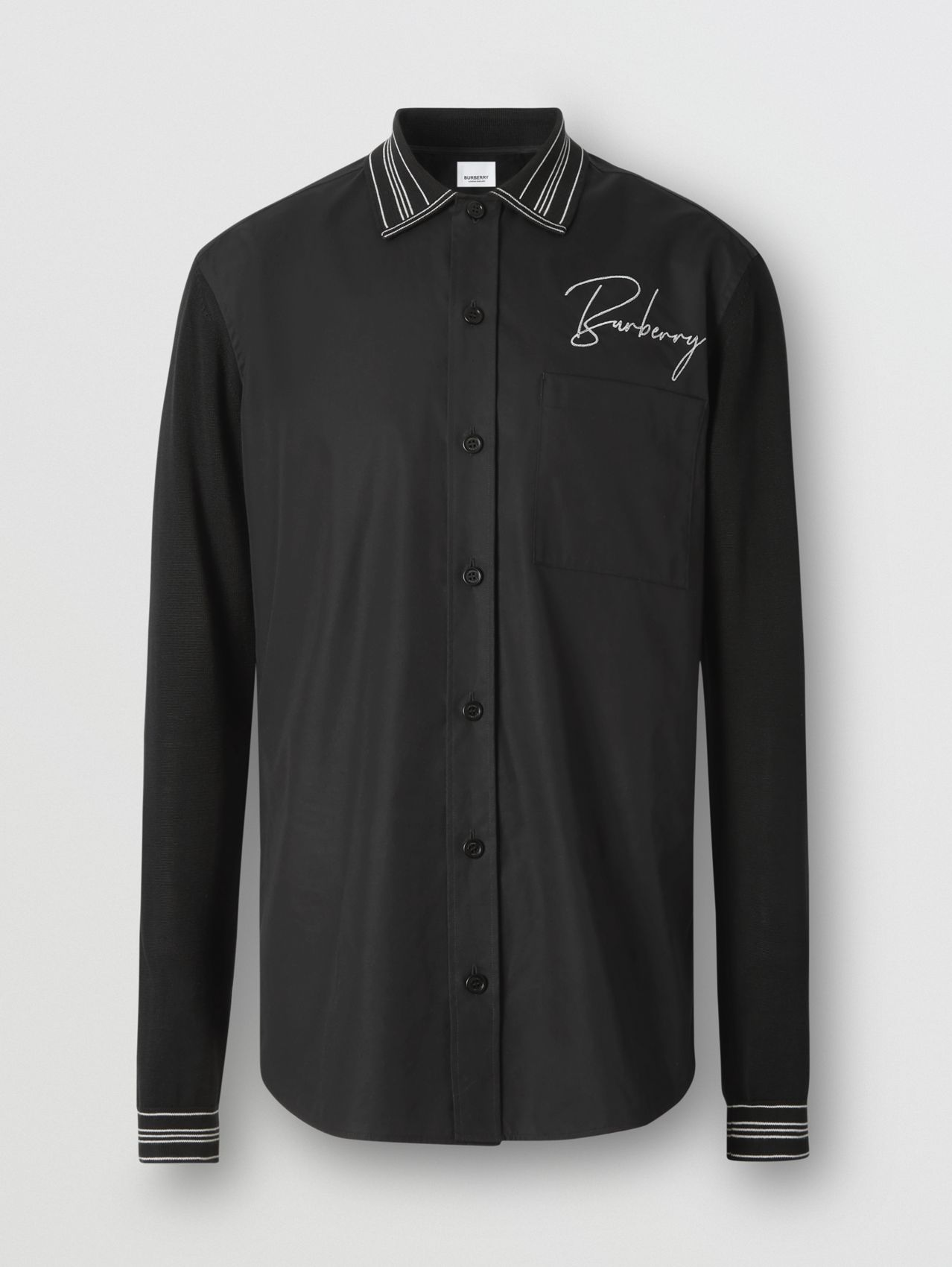 Silk Detail Logo Embroidered Cotton Poplin Shirt in Black
