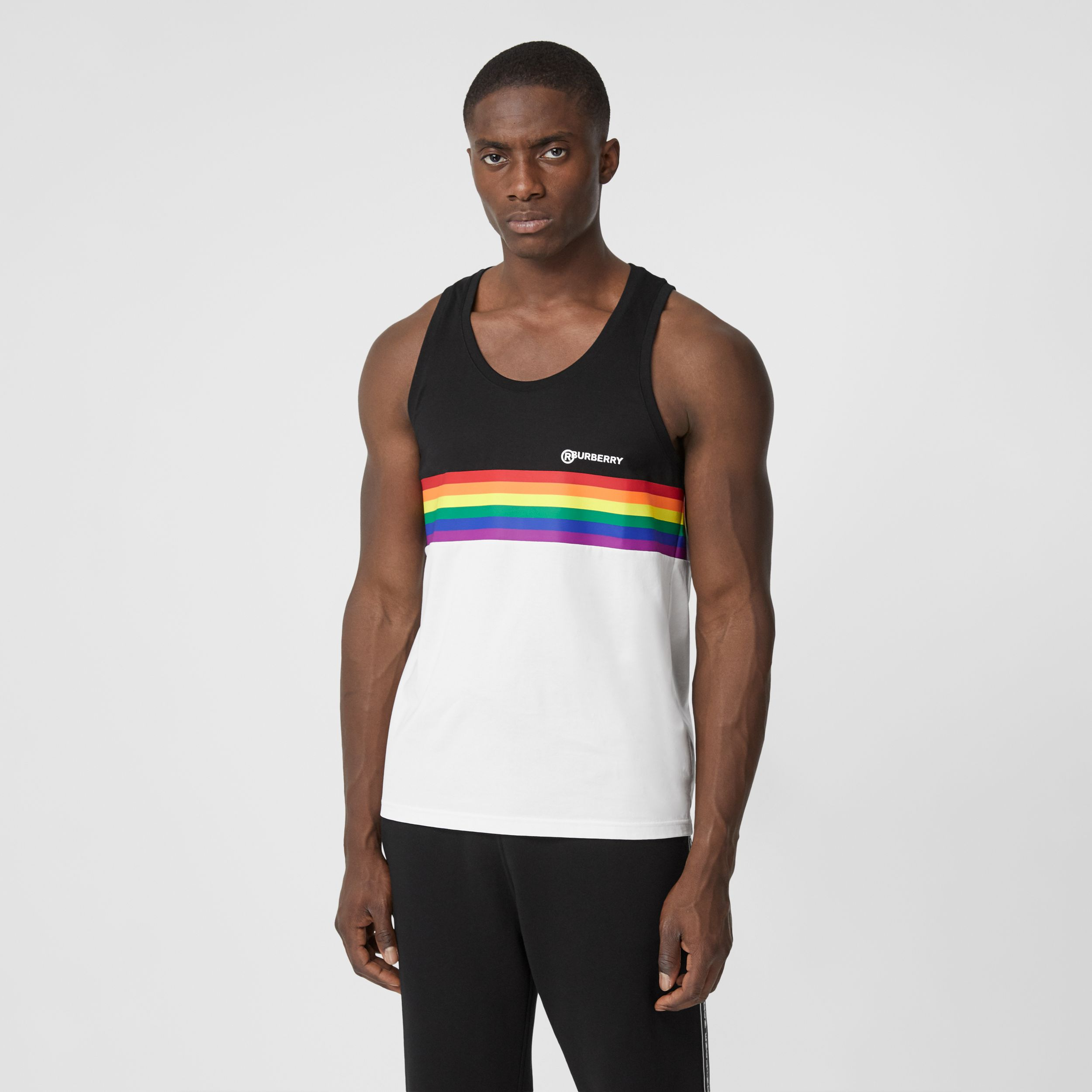 Rainbow Stripe Print Cotton Vest – Unisex in Black | Burberry - 4