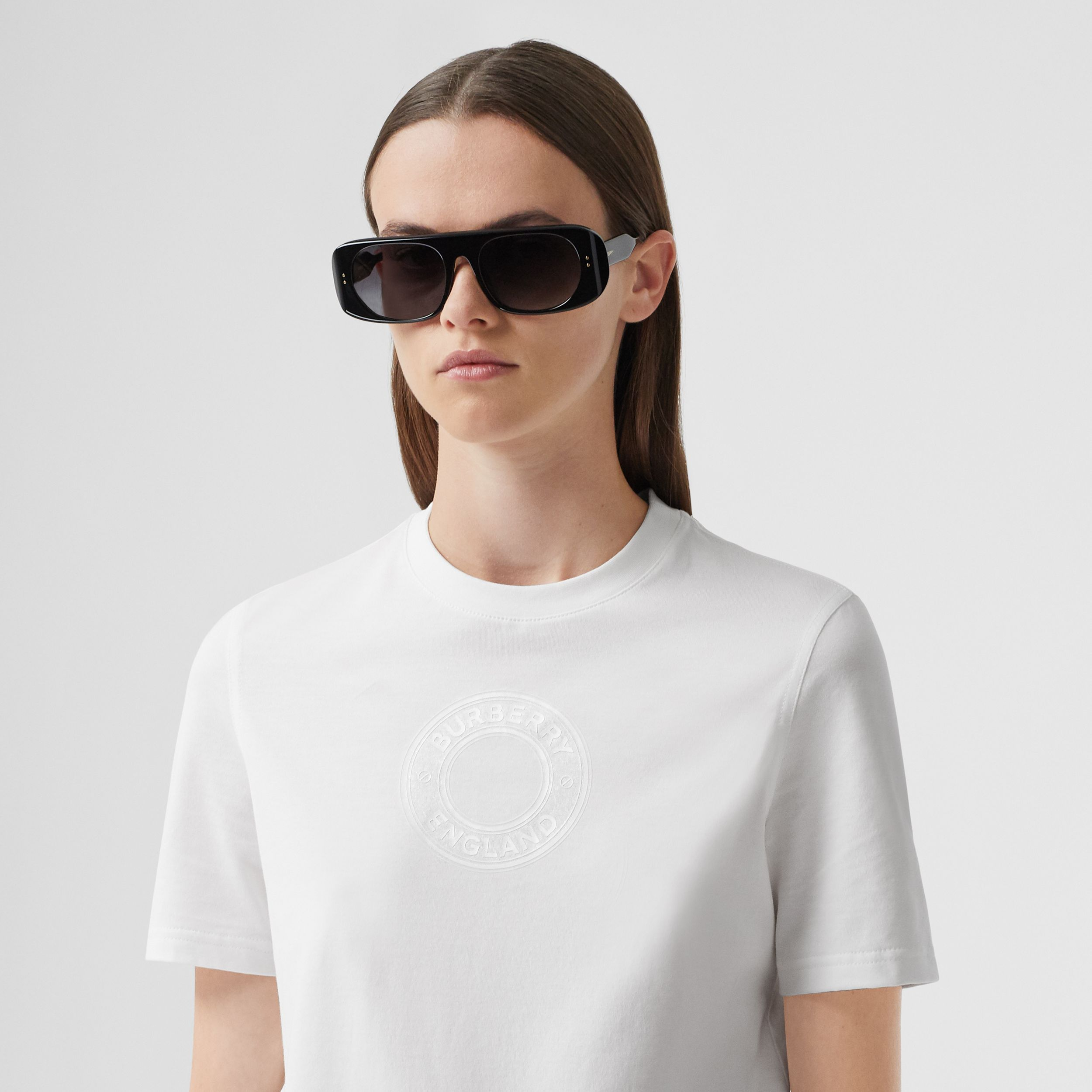 Logo Graphic Cotton T-shirt in White - Women | Burberry - 2