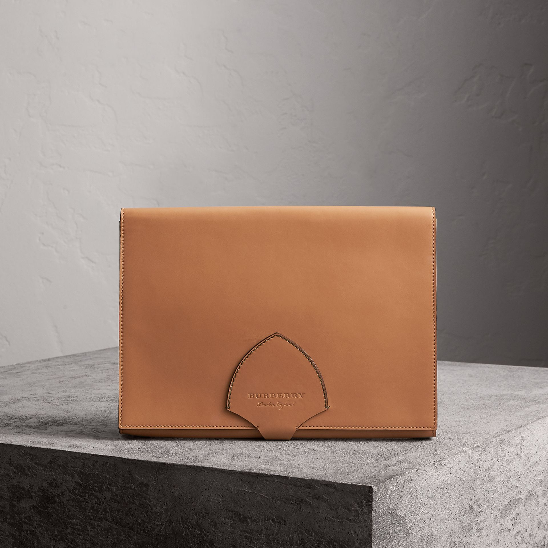 Equestrian Shield Two-tone Leather A4 Document Case in Camel - Men | Burberry Singapore - gallery image 0