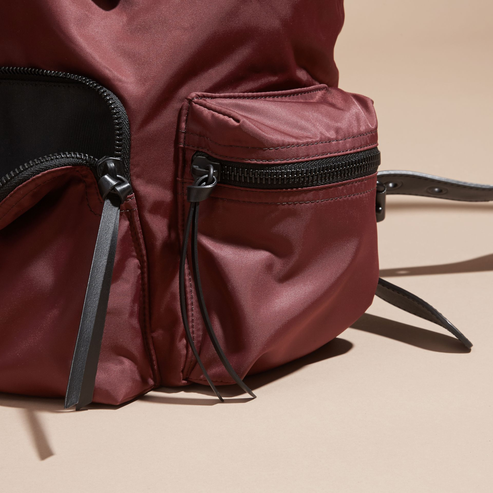The Large Rucksack in Technical Nylon and Leather Burgundy Red - gallery image 7