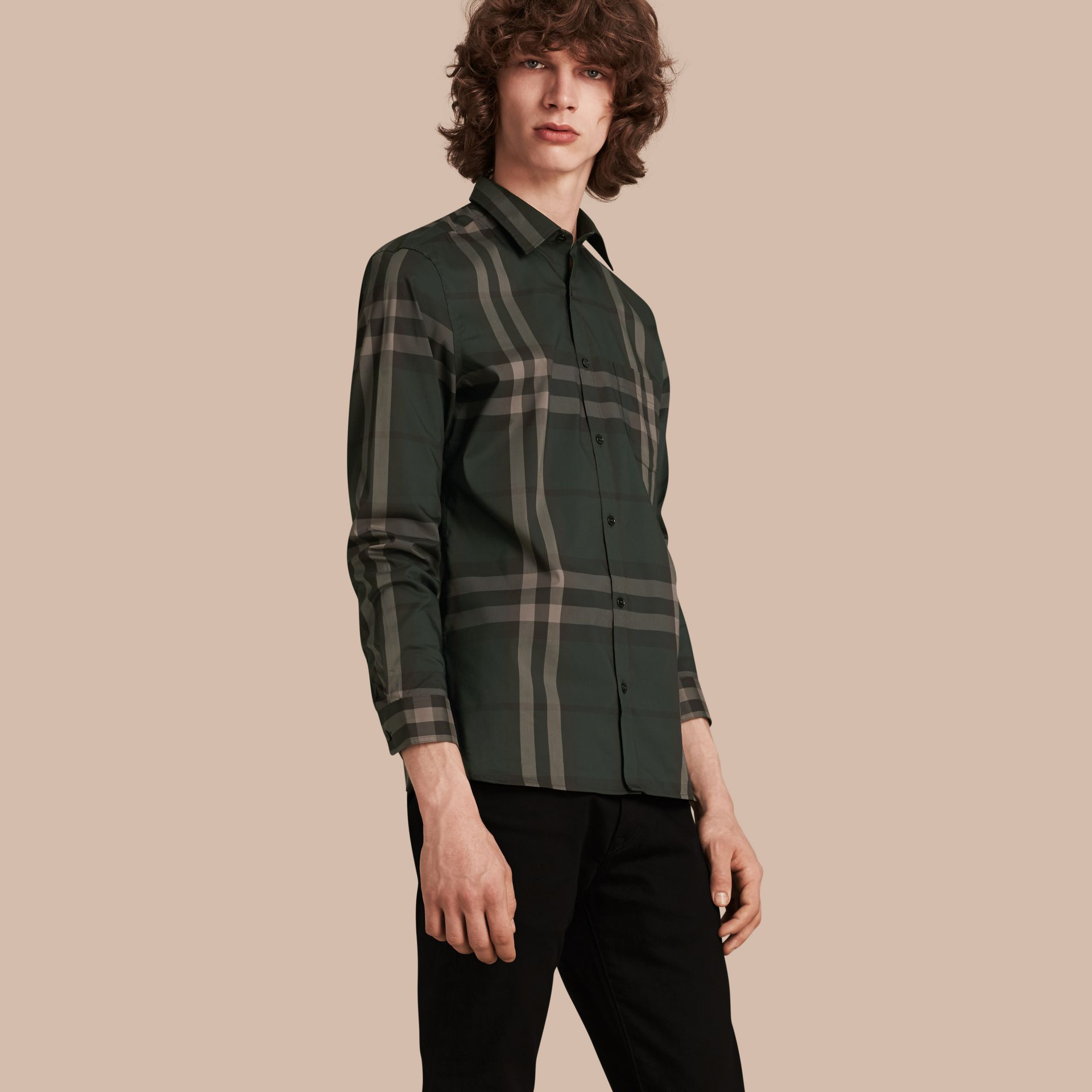 Racing green Check Stretch Cotton Shirt Racing Green - gallery image 1