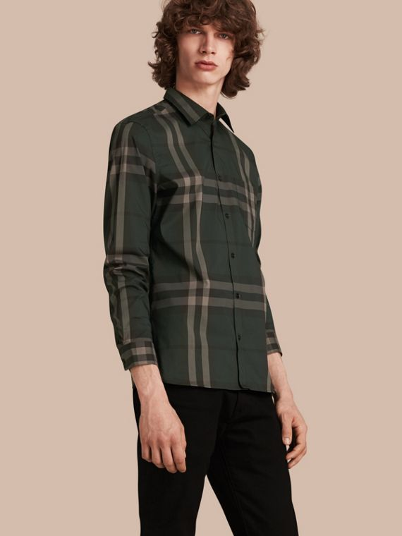 Check Stretch Cotton Shirt Racing Green