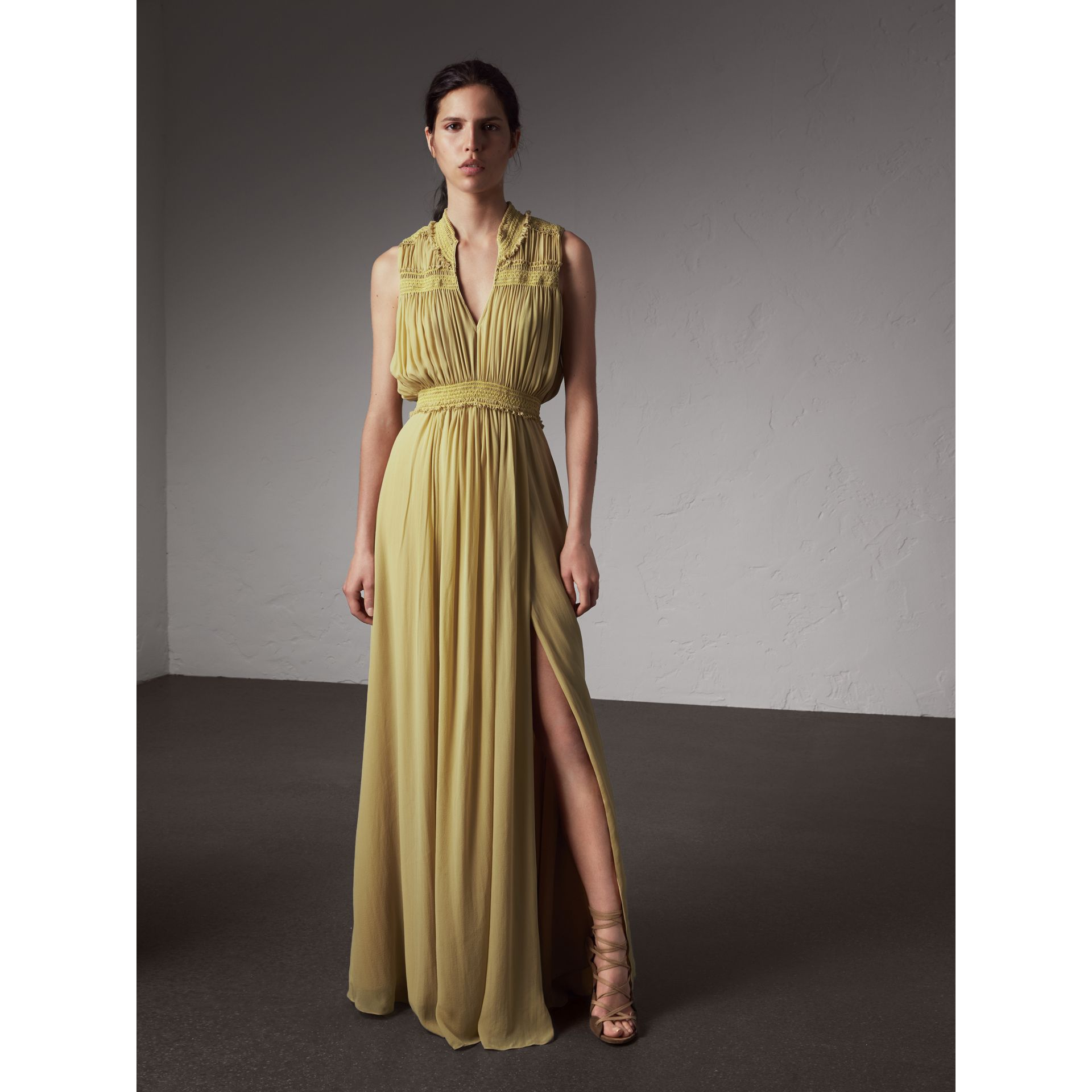 Ruched Silk Georgette Dress - Women | Burberry - gallery image 1
