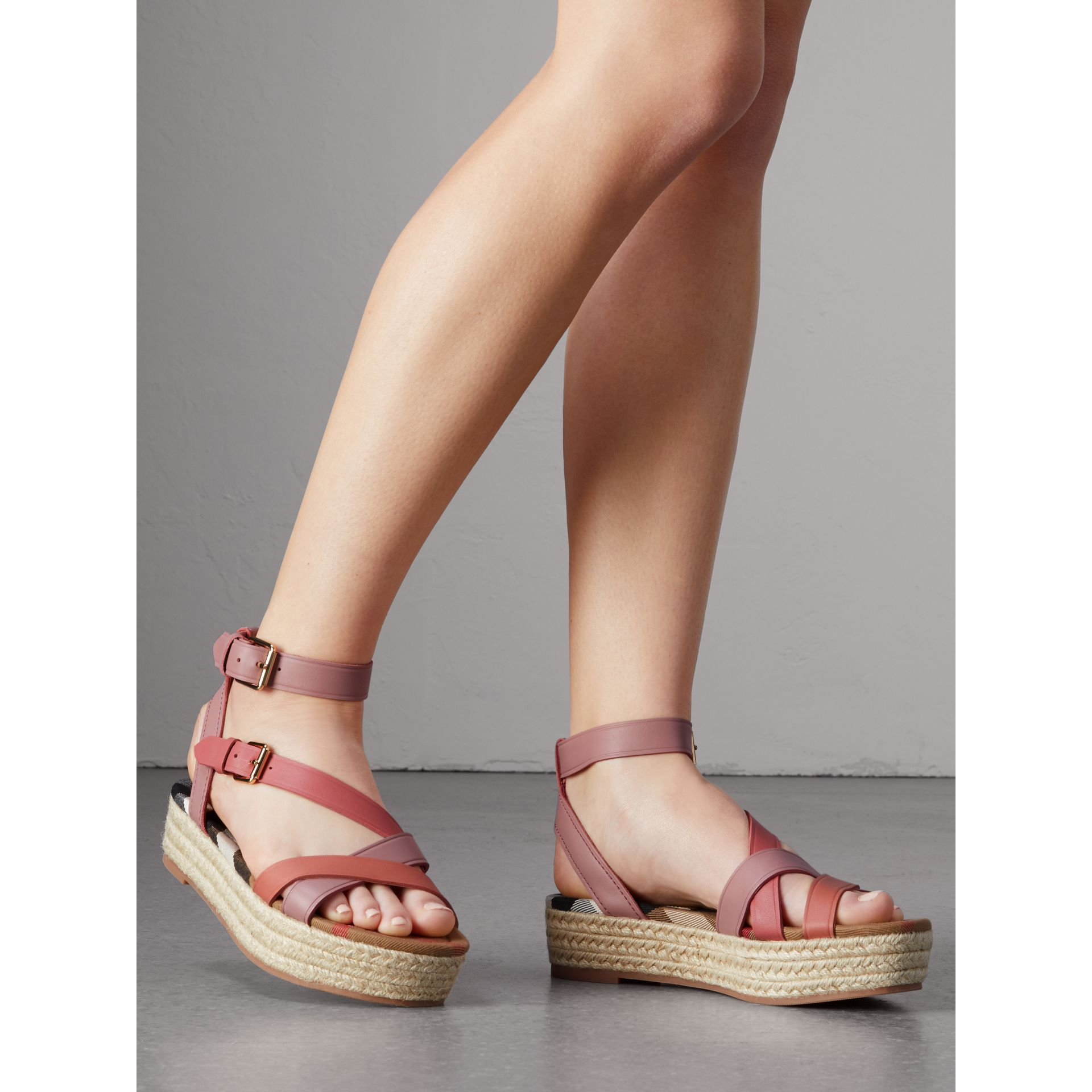 Two-tone Leather Espadrille Sandals in Dusty Pink - Women | Burberry United Kingdom - gallery image 3