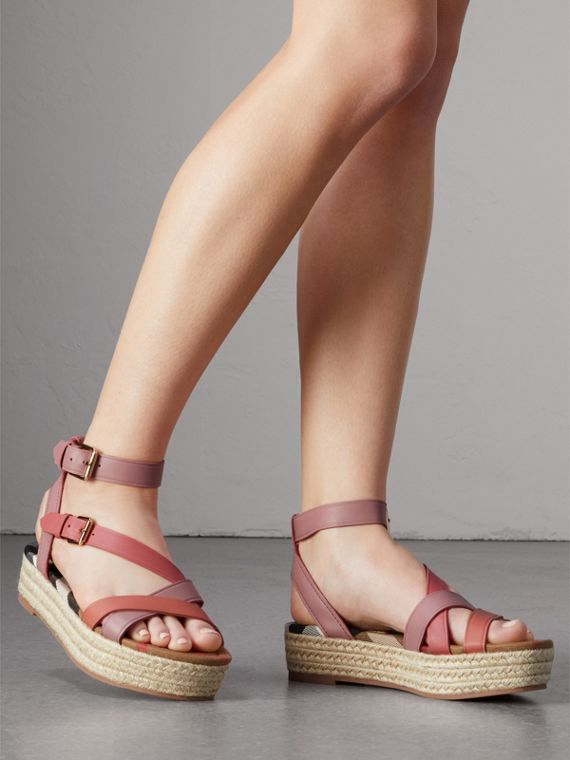 Two-tone Leather Espadrille Sandals in Dusty Pink - Women | Burberry - cell image 2